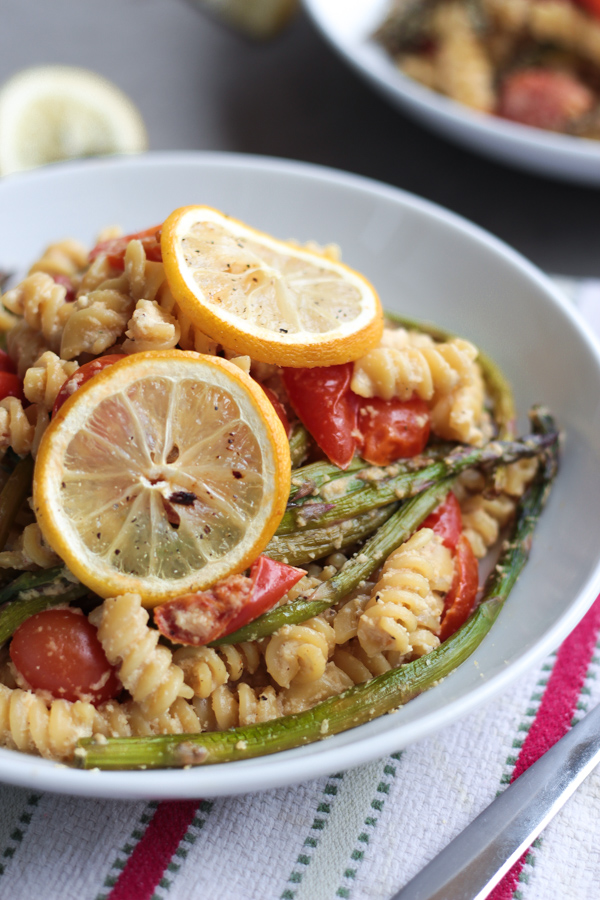 Vegan Creamy White Wine Lemon Alfredo Rotini with Roasted Asparagus and Grape Tomatoes