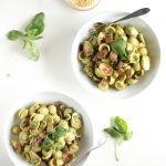 Roasted Brussels Sprouts and Vegan Italian Sausage tossed in Hearty Basil Pesto