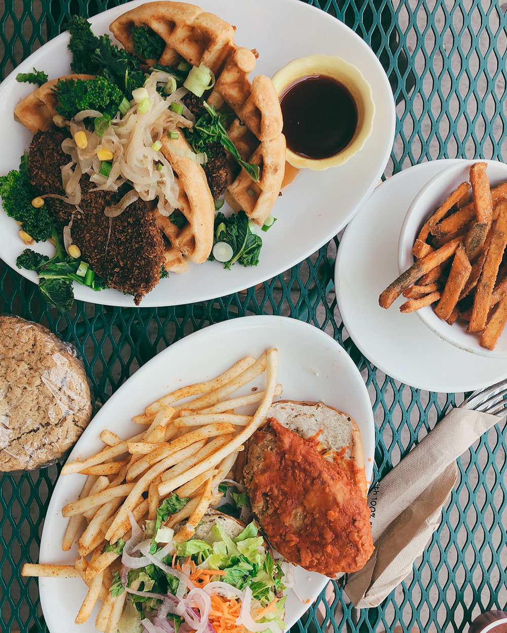 The Ultimate Guide to the BEST Vegan Food in Denver. Chicken and waffles from Native Foods Cafe.