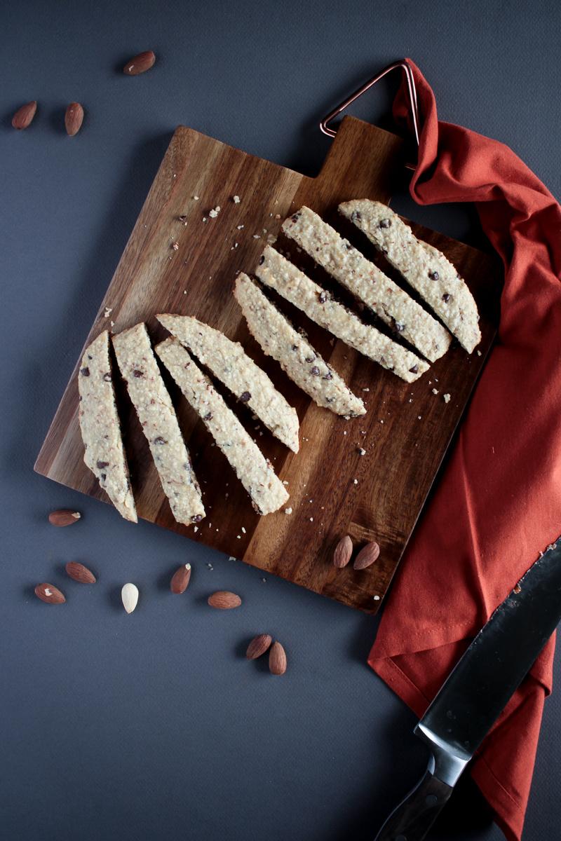 Vegan Chocolate Chip Almond Biscotti