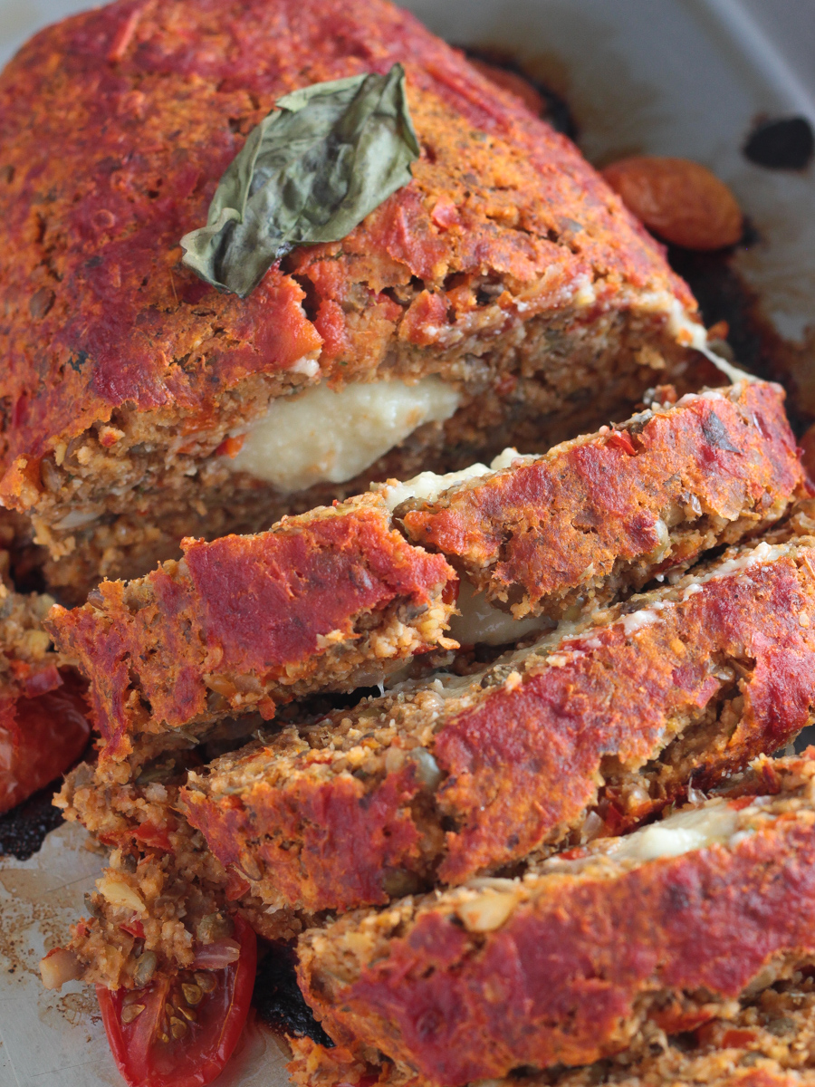 Vegan Italian Meatloaf with Sauce and Stretchy Vegan Mozzarella