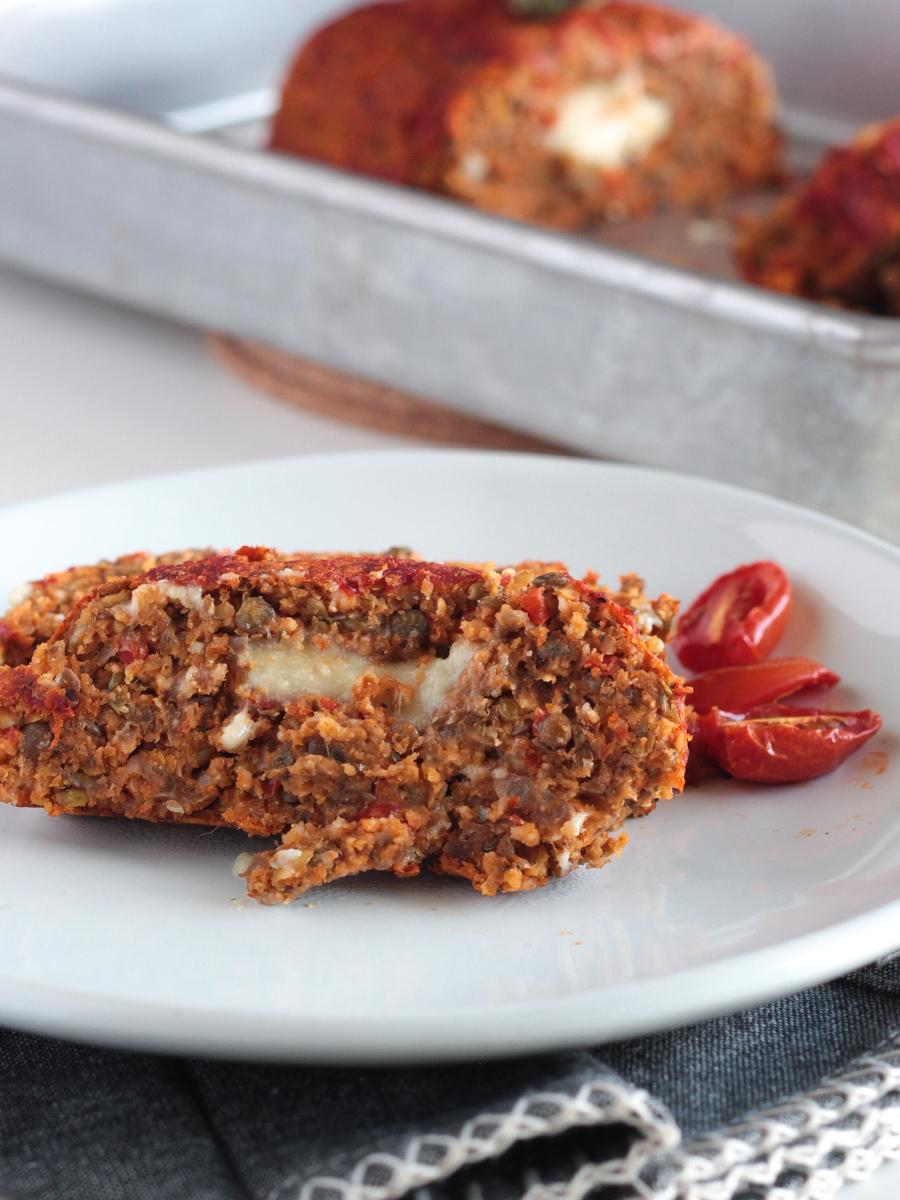 Vegan Italian Meatloaf made with Lentils Mushrooms and stuffed with Vegan Mozzarella