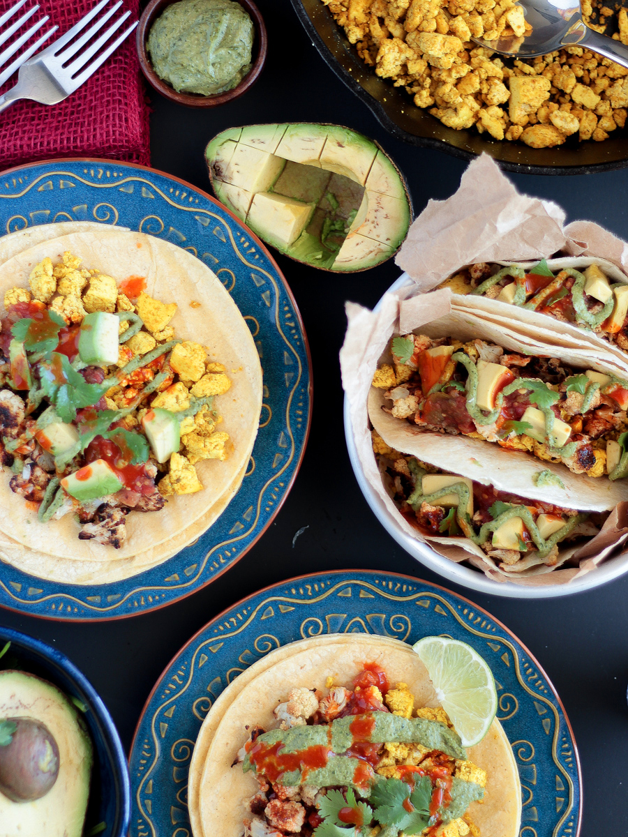 Vegan Breakfast Tacos with Roasted Cauliflower and Spicy Tofu Scramble
