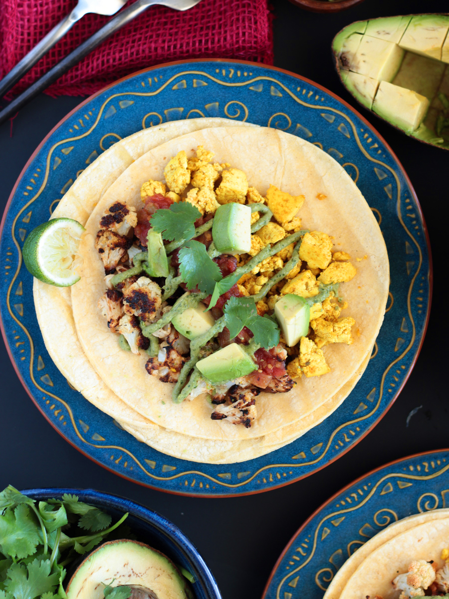 Vegan Gluten Free Breakfast Tacos with Roasted Cauliflower and Spicy Tofu Scramble