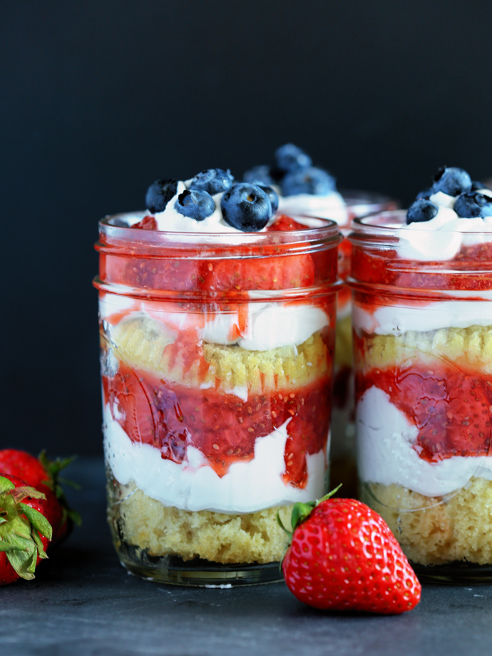 Vegan Strawberry Shortcake in Mason Jars