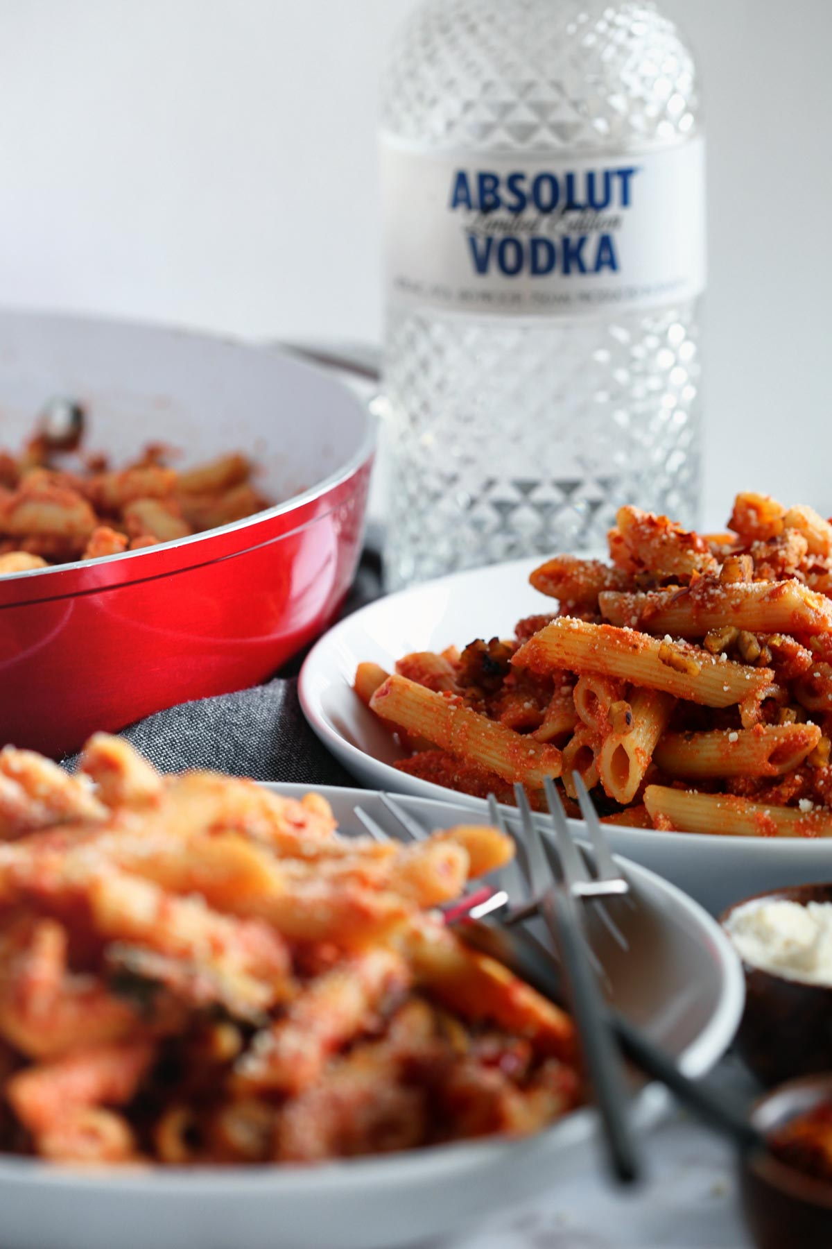 30 Minute Vegan Penne alla Vodka Sauce with Tempeh Pancetta