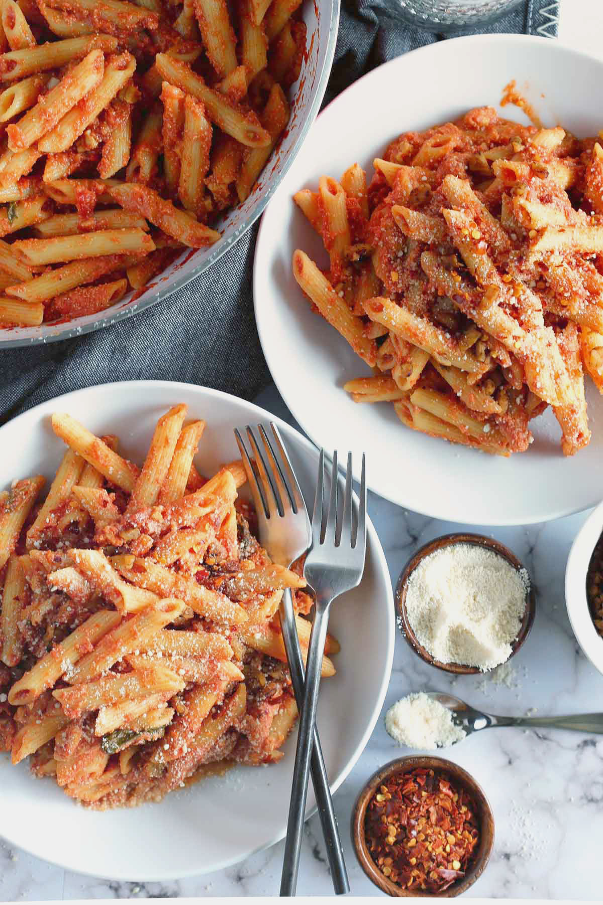 "Vegan Penne Alla Vodka with Tempeh ""Pancetta"""
