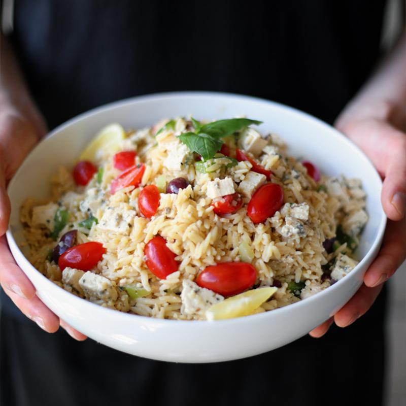 Vegan Orzo Pasta Salad with Tofu Feta by Pasta-based