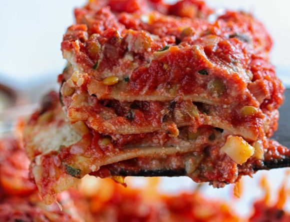 Vegan Italian Vegetable Lasagna with Lentil Bolognese and Roasted Vegetables Easy Almond Tofu Ricotta Recipe