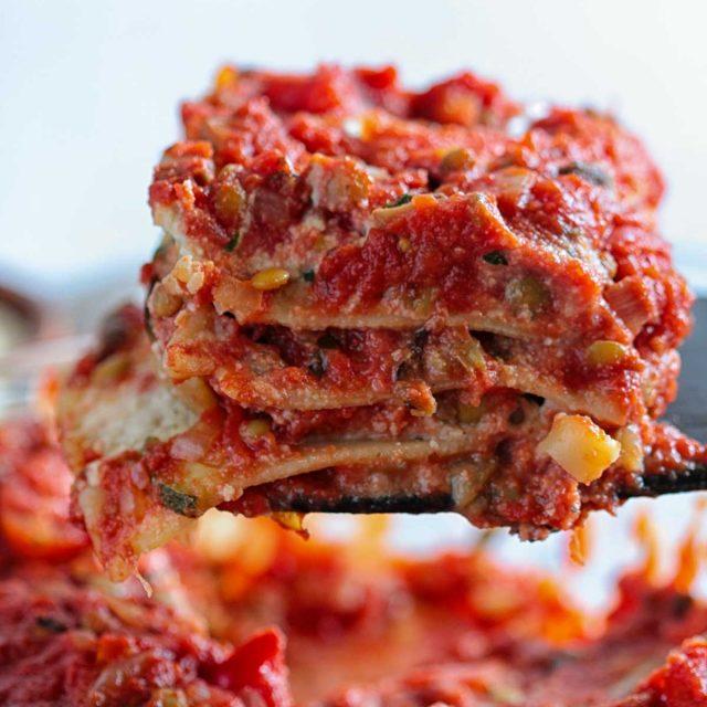 Vegan Italian Vegetable Lasagna with Lentil Bolognese and Roasted Vegetables Easy Almond Tofu Ricotta Recipe