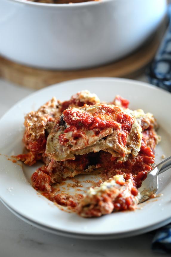 Vegan Baked Eggplant Parmesan Recipe with Fried Eggplant, Marinara Tomato Sauce, and Cashew Cream by Pastabased - Vegan Italian Cooking