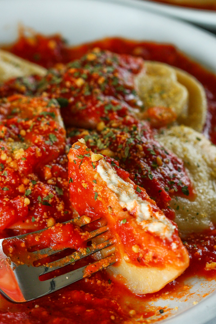Easy, Simple Homemade VEGAN Ravioli Recipe with Vegan Tofu Almond Ricotta Cheese and Homemade Marinara Tomato Sauce #vegan #ravioli #italian #vegancheese
