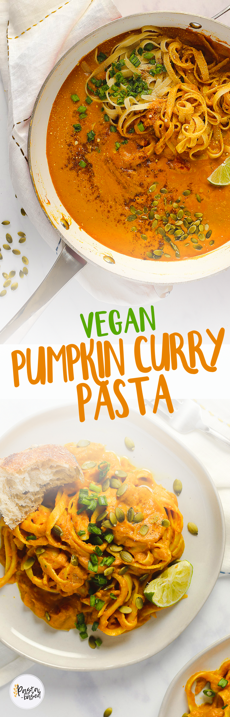 This Vegan Pumpkin Curry Pasta uses less than 10 ingredients and comes together in 15 minutes. Easy. Creamy. Cozy. Warm. Flavorful.