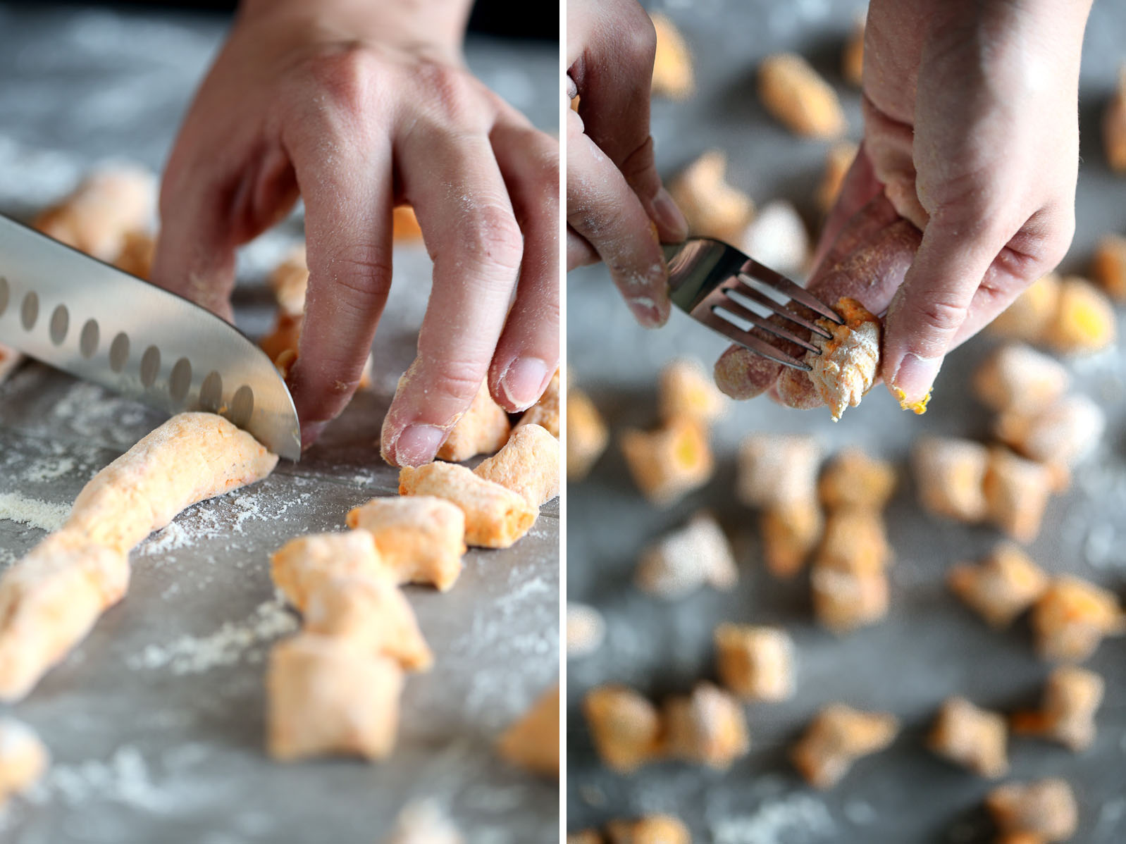 On the left, a photo cutting raw dough into gnocchi pieces with a sharp knife. On the right, shaping raw sweet potato gnocchi dough using a fork.