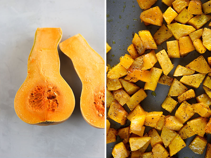 Vegan Butternut Squash Ravioli by Pasta-based. On the left, bright orange, raw, butternut squash sliced in half on a light grey countertop. On the right, cubed and roasted butternut squash on a silver baking sheet.