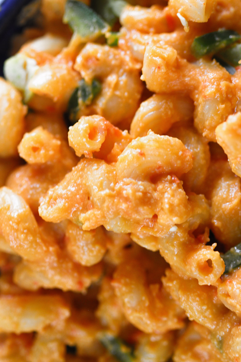 Vegan Mac and Cheese by Pasta-based.  A close-up and detailed photo of the creaminess of the mac and cheese sauce mixed in with cavatappi pasta noodles.