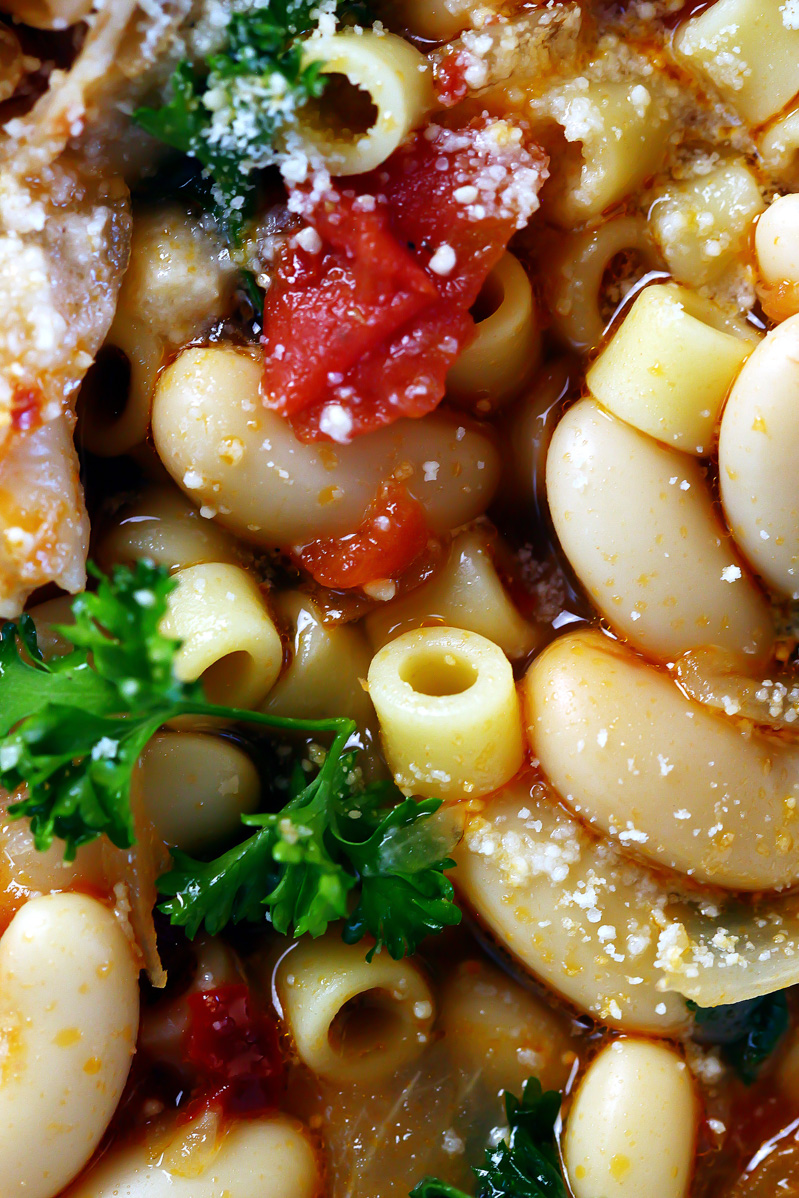 Pasta Fagioli by Pasta-based. White beans, ditalini pasta, fresh parsley, fresh marinara sauce, onions and garlic in vegetable broth makes this warm, hearty soup perfect for January.