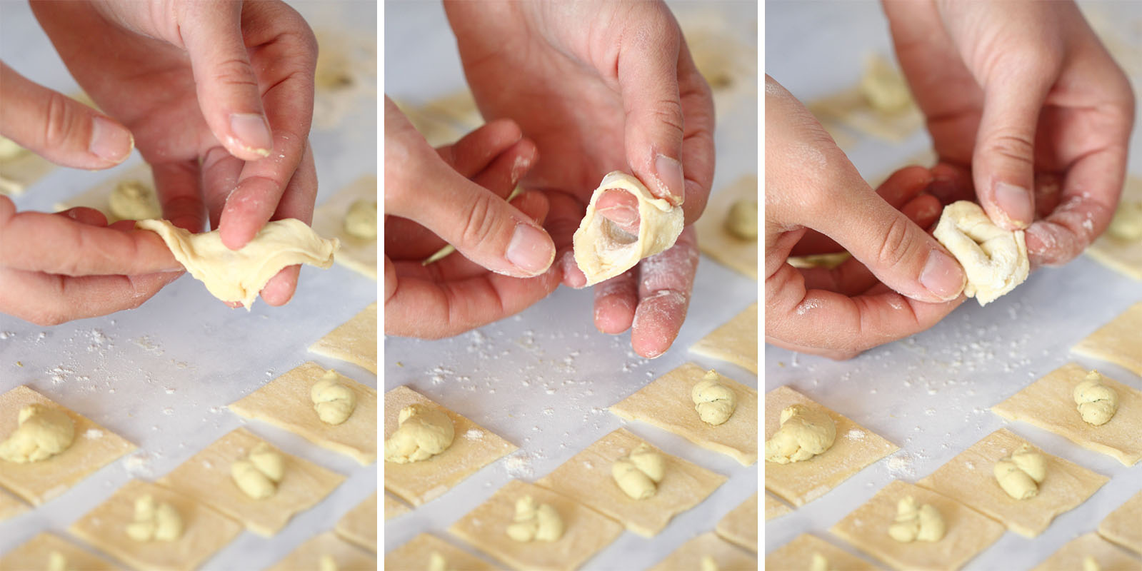A three-in-one photo showing the process of folding tortellini. First, fold the square diagonally. Then, fold two corners over your finger and press to seal. Lastly, fold the remaining corner back and down.