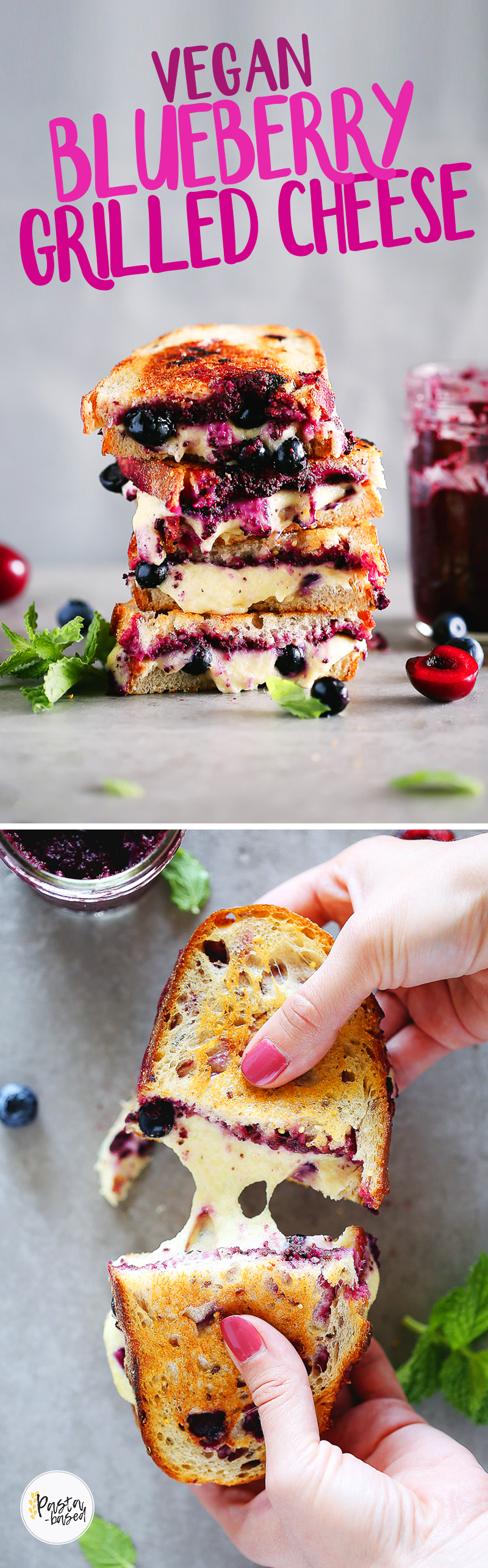 VEGAN. DAIRY-FREE. Grilled cheese with a tart blueberry spread by Pasta-based.