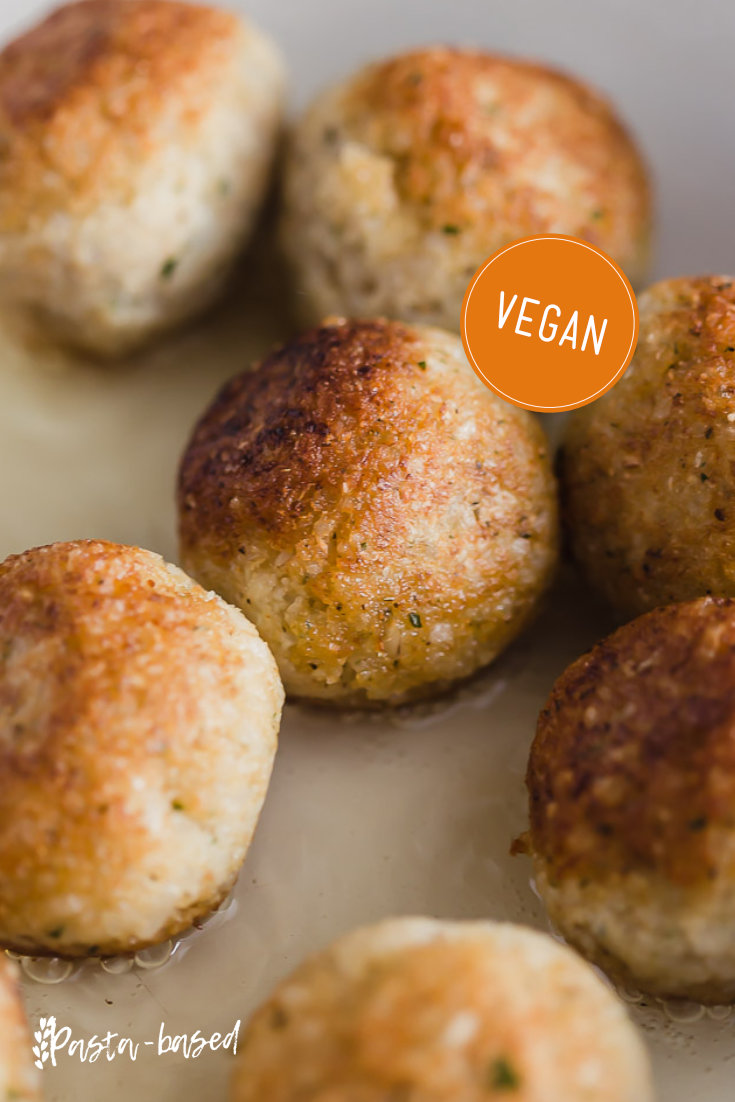 Vegan Cauliflower and Brown Rice Meatballs by Pasta-based. Bake or fry these Vegan Meatballs made with Cauliflower and Brown Rice. Easy to make using flavorful, simple, plant-based ingredients. Perfect for pairing with a variety of sauces, sandwiches, and soups.