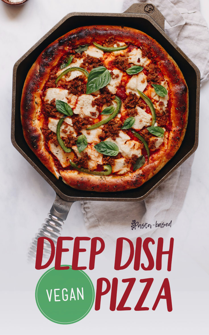 Make this recipe! It's vegan deep dish pizza baked in a HOT cast iron skillet with melted vegan mozzarella and homemade vegan sausage crumbles.