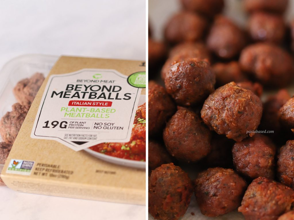 diptych image (side by side) of beyond meatballs package on the left and the cooked tiny vegan meatballs on the right.